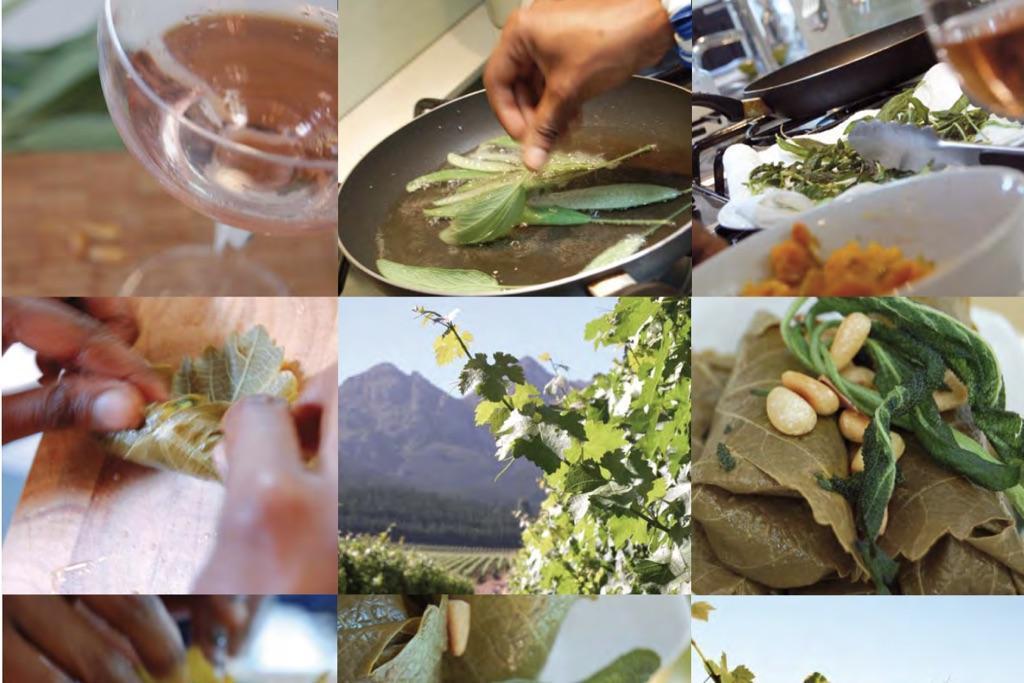 Kapmalaiische Weinblätter mit gelbem Reis & Butternut-Kürbis